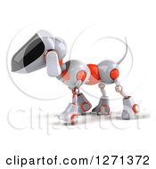 Clipart Of A 3d Robotic Dog Walking To The Left Royalty Free Illustration