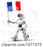 Clipart Of A 3d White And Blue Robot Walking Left With A French Flag Royalty Free Illustration