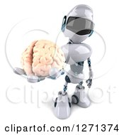 Clipart Of A 3d White And Blue Robot Holding Up A Brain Royalty Free Illustration