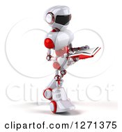 Clipart Of A 3d White And Red Robot Walking To The Right And Reading A Book Royalty Free Illustration
