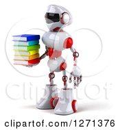 Clipart Of A 3d White And Red Robot Facing Left And Holding A Stack Of Books Royalty Free Illustration