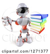 Clipart Of A 3d White And Orange Robot Holding Up A Stack Of Books And Thumb Down Royalty Free Illustration