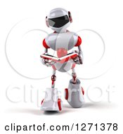 Clipart Of A 3d White And Red Robot Walking And Reading A Book Royalty Free Illustration