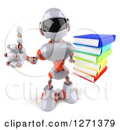 Clipart Of A 3d White And Orange Robot Holding Up A Stack Of Books And Thumb Royalty Free Illustration