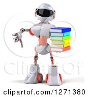 Clipart Of A 3d White And Orange Robot Holding A Stack Of Books And Thumb Down Royalty Free Illustration
