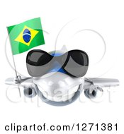 Clipart Of A 3d Happy White Airplane Wearing Sunglasses And Flying With A Brazilian Flag Royalty Free Illustration