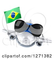 Clipart Of A 3d Happy White Airplane Wearing Sunglasses Holding A Thumb Up And Flying With A Brazilian Flag Royalty Free Illustration
