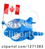 Clipart Of A 3d Happy Blue Airplane Flying To The Left With A Canadian Flag Royalty Free Illustration