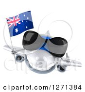 Clipart Of A 3d White Airplane Wearing Sunglasses Giving A Thumb Up And Flying With An Australian Flag Royalty Free Illustration