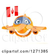 Clipart Of A 3d Happy Orange Airplane Flying With A Canadian Flag Royalty Free Illustration