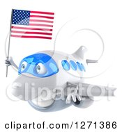 Clipart Of A 3d Happy White Airplane Flying To The Left With An American Flag Royalty Free Illustration