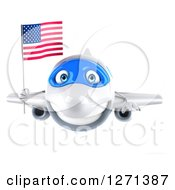 Clipart Of A 3d Happy White Airplane Flying With An American Flag Royalty Free Illustration