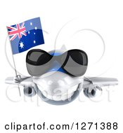 Clipart Of A 3d White Airplane Wearing Sunglasses And Flying With An Australian Flag Royalty Free Illustration