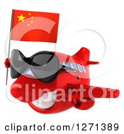 Clipart Of A 3d Happy Red Airplane Wearing Sunglasses And Flying To The Left With A Chinese Flag Royalty Free Illustration