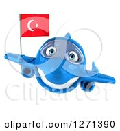 Clipart Of A 3d Happy Blue Airplane Giving A Thumb Up And Flying With A Turkey Flag Royalty Free Illustration