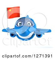 Clipart Of A 3d Happy Blue Airplane Flying With A Chinese Flag Royalty Free Illustration