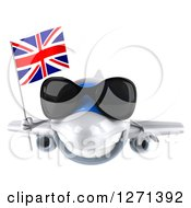 Clipart Of A 3d Happy White Airplane Wearing Sunglasses And Flying With A British Flag Royalty Free Illustration