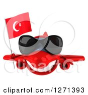 Clipart Of A 3d Happy Red Airplane Wearing Sunglasses And Flying With A Turkey Flag Royalty Free Illustration
