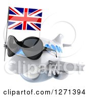 Clipart Of A 3d Happy White Airplane Wearing Sunglasses And Flying To The Left With A British Flag Royalty Free Illustration