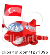Clipart Of A 3d Happy Red Airplane Flying To The Left With A Turkey Flag Royalty Free Illustration
