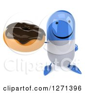 Clipart Of A 3d Happy Blue And White Pill Character Holding Up A Chocolate Frosted Donut Royalty Free Illustration by Julos