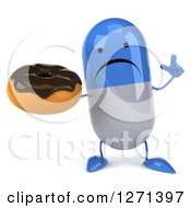 Clipart Of A 3d Unhappy Blue And White Pill Character Holding Up A Finger And A Chocolate Frosted Donut Royalty Free Illustration by Julos