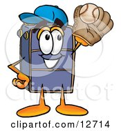 Clipart Picture Of A Suitcase Cartoon Character Catching A Baseball With A Glove by Toons4Biz