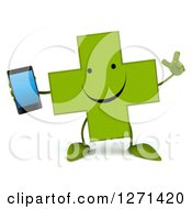 Clipart Of A 3d Happy Green Pharmaceutical Cross Character Holding Up A Finger And A Smart Phone Royalty Free Illustration