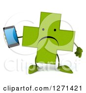 Clipart Of A 3d Unhappy Green Pharmaceutical Cross Character Holding A Smart Phone Royalty Free Illustration