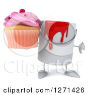 3d Can Of Red Paint Character Holding A Pink Frosted Cupcake And Thumb Down