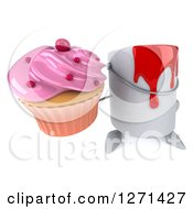 3d Can Of Red Paint Character Holding Up A Pink Frosted Cupcake