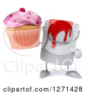 3d Can Of Red Paint Character Holding And Pointing To A Pink Frosted Cupcake