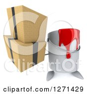 Clipart Of A 3d Can Of Red Paint Character Holding Up Boxes Royalty Free Illustration