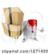 3d Can Of Red Paint Character Holding A Thumb Up And Boxes
