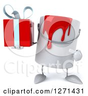 3d Can Of Red Paint Character Holding And Pointing To A Gift