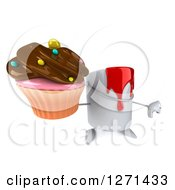 3d Can Of Red Paint Character Holding A Chocolate Frosted Cupcake And Thumb Down