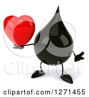 Clipart Of A 3d Oil Drop Character Shrugging And Holding A Heart Royalty Free Vector Illustration