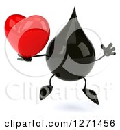 Clipart Of A 3d Oil Drop Character Jumping And Holding A Heart Royalty Free Vector Illustration