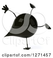 Clipart Of A 3d Oil Drop Character Cartwheeling Royalty Free Vector Illustration