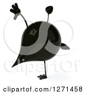 Clipart Of A 3d Oil Drop Character Cartwheeling 2 Royalty Free Vector Illustration