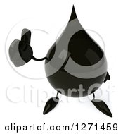 Clipart Of A 3d Oil Drop Character Holding Up A Thumb Royalty Free Vector Illustration