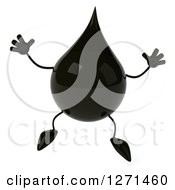 Clipart Of A 3d Oil Drop Character Jumping Royalty Free Vector Illustration