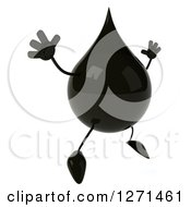 Clipart Of A 3d Oil Drop Character Facing Right And Jumping Royalty Free Vector Illustration