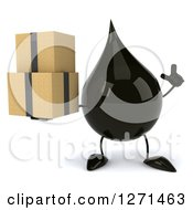 Clipart Of A 3d Oil Drop Character Holding Up A Finger And Boxes Royalty Free Vector Illustration