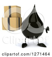 Clipart Of A 3d Oil Drop Character Holding A Thumb Down And Boxes Royalty Free Vector Illustration