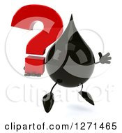 Clipart Of A 3d Oil Drop Character Facing Right And Jumping With A Question Mark Royalty Free Vector Illustration