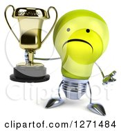 Clipart Of A 3d Unhappy Yellow Light Bulb Character Shrugging And Holding A Gold Trophy Royalty Free Illustration