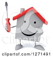 Clipart Of A 3d Happy White House Character Holding And Pointing To A Screwdriver Royalty Free Illustration