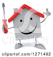 Clipart Of A 3d Happy White House Character Holding Up A Finger And A Screwdriver Royalty Free Illustration