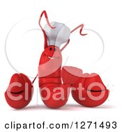 Clipart Of A 3d Red Chef Lobster Smiling Royalty Free Illustration by Julos